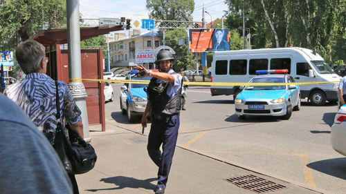 Police block off the streets near the incident site. (AFP)