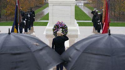 Trump salutes memorial