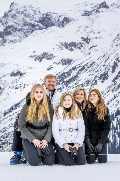 King Willem-Alexander and Queen Maxima of The Netherlands take their children to the snow