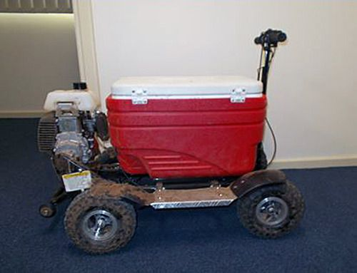 The unlicensed man told officers he was riding the unregistered motorised beer cooler until his licence was reinstated.