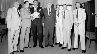 Fraser ran for the seat of Wannon, losing to the incumbent by just 17 votes. He captured the seat at the next election and held it for  almost 30 years. Fraser with backbench Coalition Senators and Members at Parliament House, Canberra, 1979. From left, Reg Gillard (Liberal MHR for Macquarie), Senator Tony Messner (Liberal Senator for South Australia), Prime Minister Fraser, Frank O'Keefe (National Party MHR for Paterson), Senator Brian Archer (Liberal Senator for Tasmania), David Thomson (National Party MHR for Leichhardt) and Marshall Baillieu (Liberal MHR for La Trobe). (AAP)