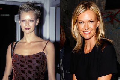THEN: About as '90s as it gets, Sarah's chopped locks in 1996.<br/><br/>NOW: At Mercedes-Benz Fashion Week 2013 in Sydney.