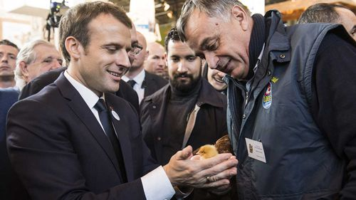 French President Emmanuel Macron cradles a chick with his bodyguard Alexandre Benalla looking on. (AAP)