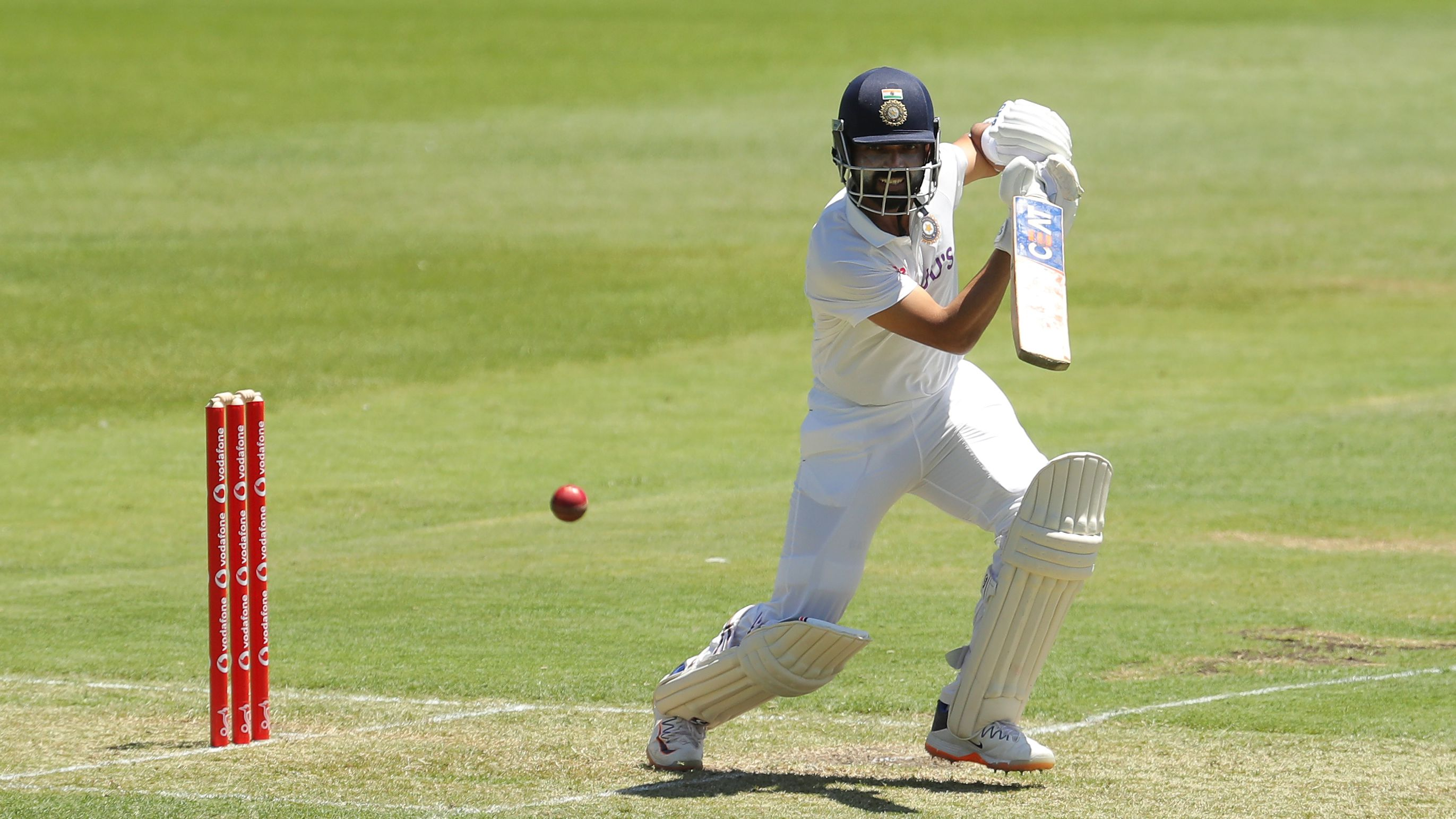 Ajinkya Rahane of India A bats during day one of the three-day tour match.
