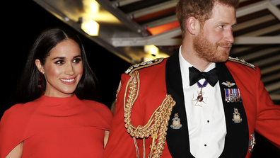 In this Saturday March 7, 2020 file photo, Britain's Prince Harry and Meghan, Duchess of Sussex arrive at the Royal Albert Hall in London, to attend the Mountbatten Festival of Music.