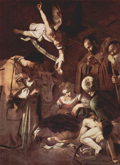 <strong><em>Nativity with St. Francis and St. Lawrence</em> by Caravaggio</strong>