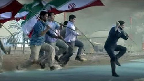 A group of actors portray defiant Iranians conjuring a tsunami from song. (YouTube screenshot)