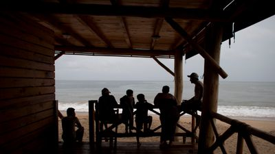 Puerto Vallarta residents looked out to sea as they waited for the hurricane to hit. (AAP)