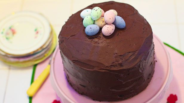 Easter egg one-bowl chocolate layer cake with chocolate mousse icing
