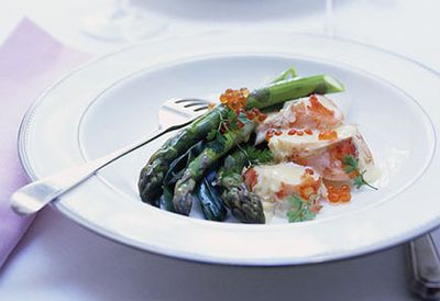 Champagne-poached lobster