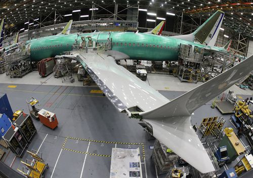 A Boeing 737 MAX 8 airplane sits on the assembly line in Boeing's 737 assembly facility in Renton, Washington.
