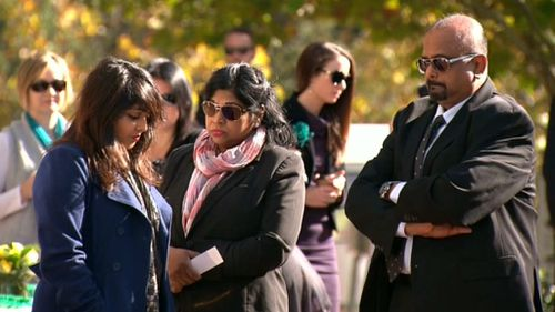 The Sukumaran family arrives at Andrew Chan's funeral. (9NEWS)