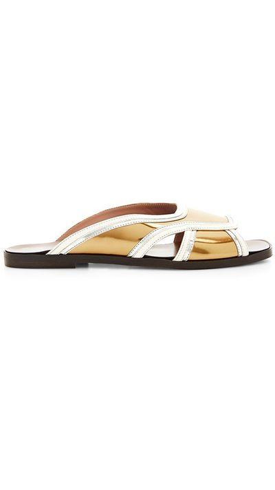 "<a href=""https://www.modaoperandi.com/marni-ss15/gold-sandal-in-calf-leather"" target=""_blank"">Sandals, approx. $275, Marni at modaoperandi.com</a>"