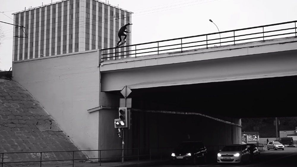 Skater's death defying ride