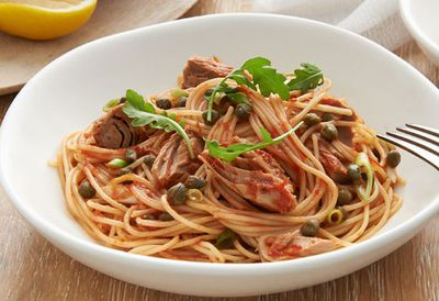 """Recipe: <a href=""""https://kitchen.nine.com.au/2016/05/20/10/37/spaghetti-with-tuna-lemon-and-capers"""" target=""""_top"""">Spaghetti with tuna, lemon and capers</a>"""
