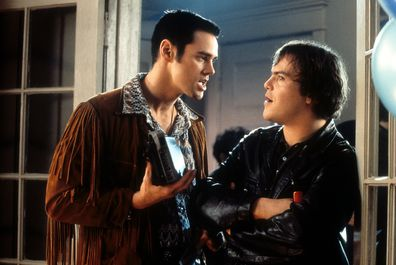 Jim Carrey and Jack Black in a scene from the film 'The Cable Guy', 1996.