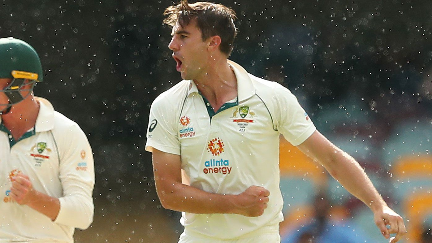 Pat Cummins takes a crucial wicket on Day five at the Gabba. (Getty)