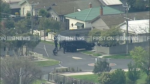 Police conducted a planned operation at First St, West Footscray, today. (9NEWS)