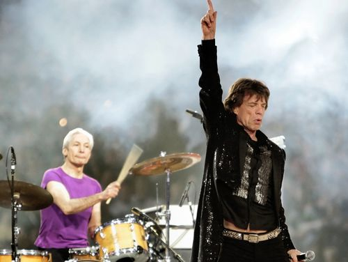 Mick Jagger, right, and drummer Charlie Watts, perform with the Rolling Stones at halftime of the Super Bowl XL football game in Detroit on Feb. 5, 2006.