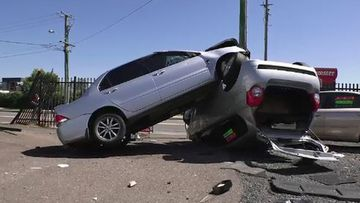 One vehicle rolled onto its roof as a result of the crash.