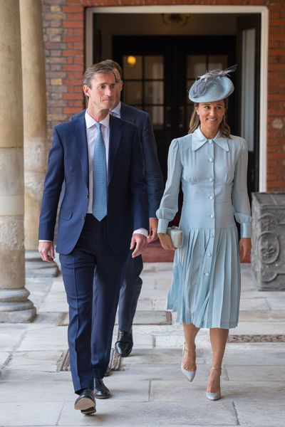 Pippa Middleton Matthews in custom-made Alessandra Rich and Jimmy Choo shoes at the christening of Prince Louis in London, July 2018
