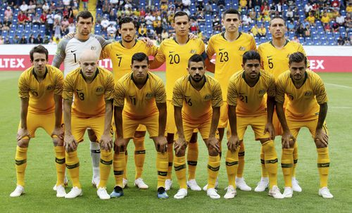 Risdon (bottom right) lining up for the Socceroos in their friendly against the Czezh Republic. Picture: AAP