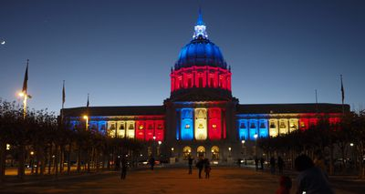 San Francisco City Hall in San Francisco, California, was lit up in the US. (AAP)