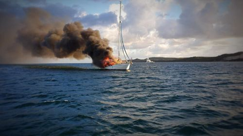 News Queensland yacht fire Moreton Island Brisbane news Australia