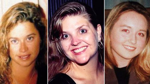 Ciara Glennon (L), Sarah Spiers (C), Jane Rimmer (R) all vanished following nights out in Claremont. (Supplied)
