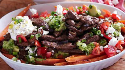 Loaded Sweet Potato Fries with Rump Strips