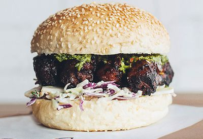 Beef rib burger with chimichurri