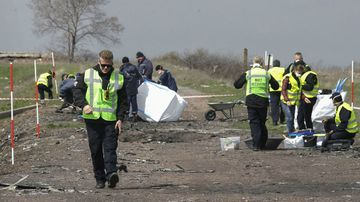Investigators comb the crash site of Malaysian Airlines passenger jet MH17 near Donetsk.