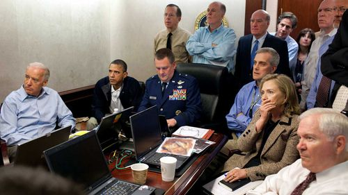 President Barack Obama and others including Vice President Joe Biden and Secretary of State Hillary Clinton watch on during the raid on Osama bin Laden's compound that resulted in his
