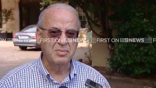 Eddie Obeid speaks with the media outside his home. (9NEWS)