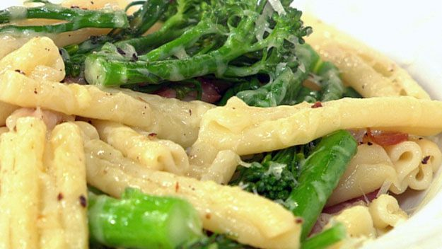 Broccolini, pancetta and pecorino pasta