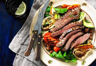"""Recipe: <a href=""""/recipes/ibeef/9048854/fiesta-skirt-steak-salad-with-chargrilled-vegetables"""" target=""""_top"""">Fiesta skirt steak salad</a>"""