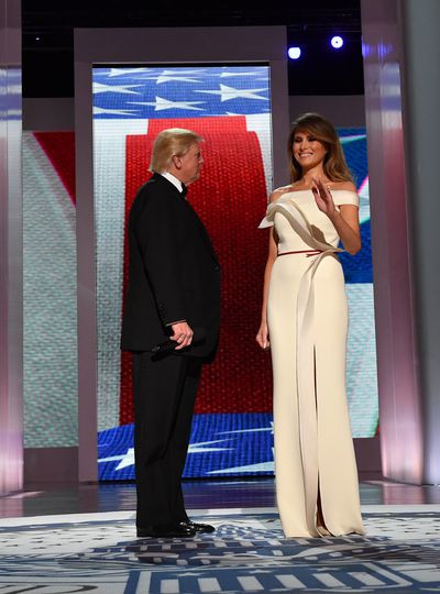 Melania Trump at the Liberty Ball in January wearing a Herve Pierre gown.