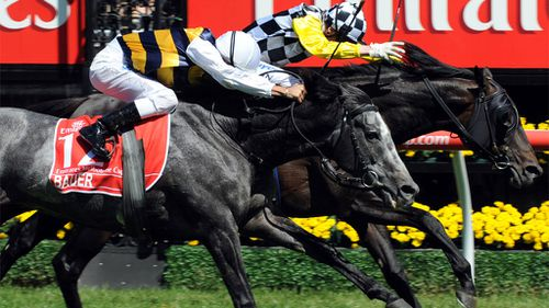 Blake Shinn rides the Bart Cummings-trained Viewed (right) to victory over Bauer riden by Corey Brown and trained by Luca Cumani in the Melbourne Cup at Flemington Racecourse in Melbourne, Tuesday, Nov. 4, 2008. (AAP)