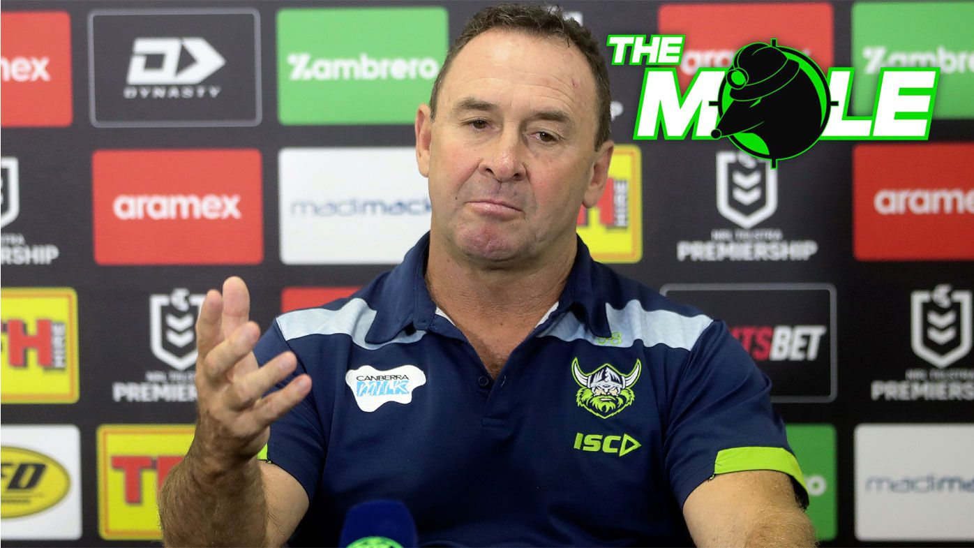 Ricky Stuart speaking to the media after a Raiders match.