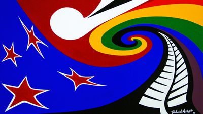 "<p>""I feel ""eNZign"" would make a good flag for NZ, as if change is necessary, we need to be bold, different and stand out.""</p> <p>eNZign by Richard Aslett from Manawatu-Wanganui. (NZ Government)</p>"