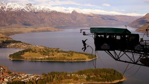 AJ Hackett Bungy jump over Queenstown, in New Zealand's South Island.