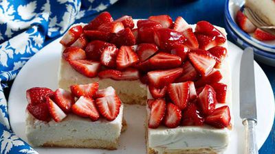 <strong>Ricotta, lime and strawberry cheesecake</strong>