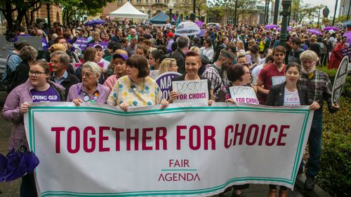 Activists protest to legalise abortion in Brisbane.