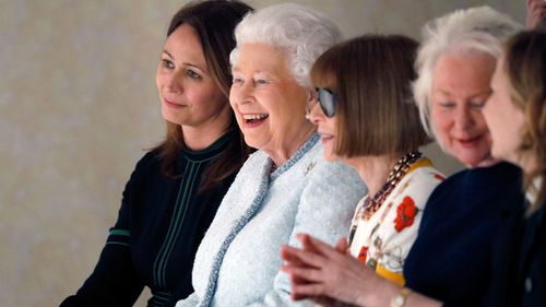 It was the Queen's first visit to London Fashion Week. (Getty)