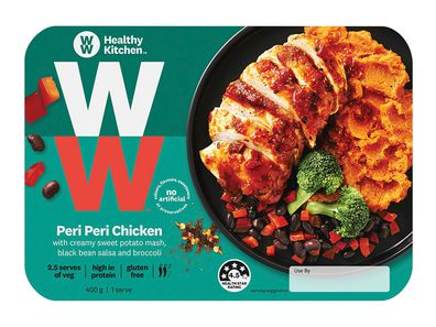 WW Healthy Kitchen Peri Peri Chicken with Creamy Sweet Potato Mash, Black Bean Salsa and Broccoli