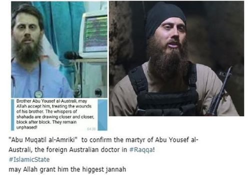 The message about the death of Tareq Kamleh, left, and a photo showing him with an AK-47 assault rifle in an IS propaganda shot.