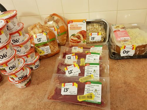 Roast chicken, yoghurt, lamb and cake ALL discounted by more than 90 percent. Picture: Supplied