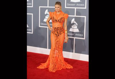 ''I had two choices and this was the safe one,'' Fergie said of the orange Jean Paul Gaultier number she wore to the Grammys in 2012. <br/><br/>Wonder what the other one looked like.