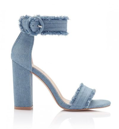 "<p><a href=""https://www.sportsgirl.com.au/shoes/heels/amelia-frayed-denim-heel-denim"" target=""_blank"">Sportsgirl Amelia Frayed Denim Heel, $59.96</a></p>"