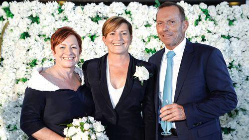 Christine Forster (centre), Virginia Edwards (left) and Tony Abbott